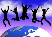 Happy jumping over the planet — Stock Photo