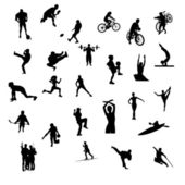 Silhouettes of mixed athletes — Stock Photo
