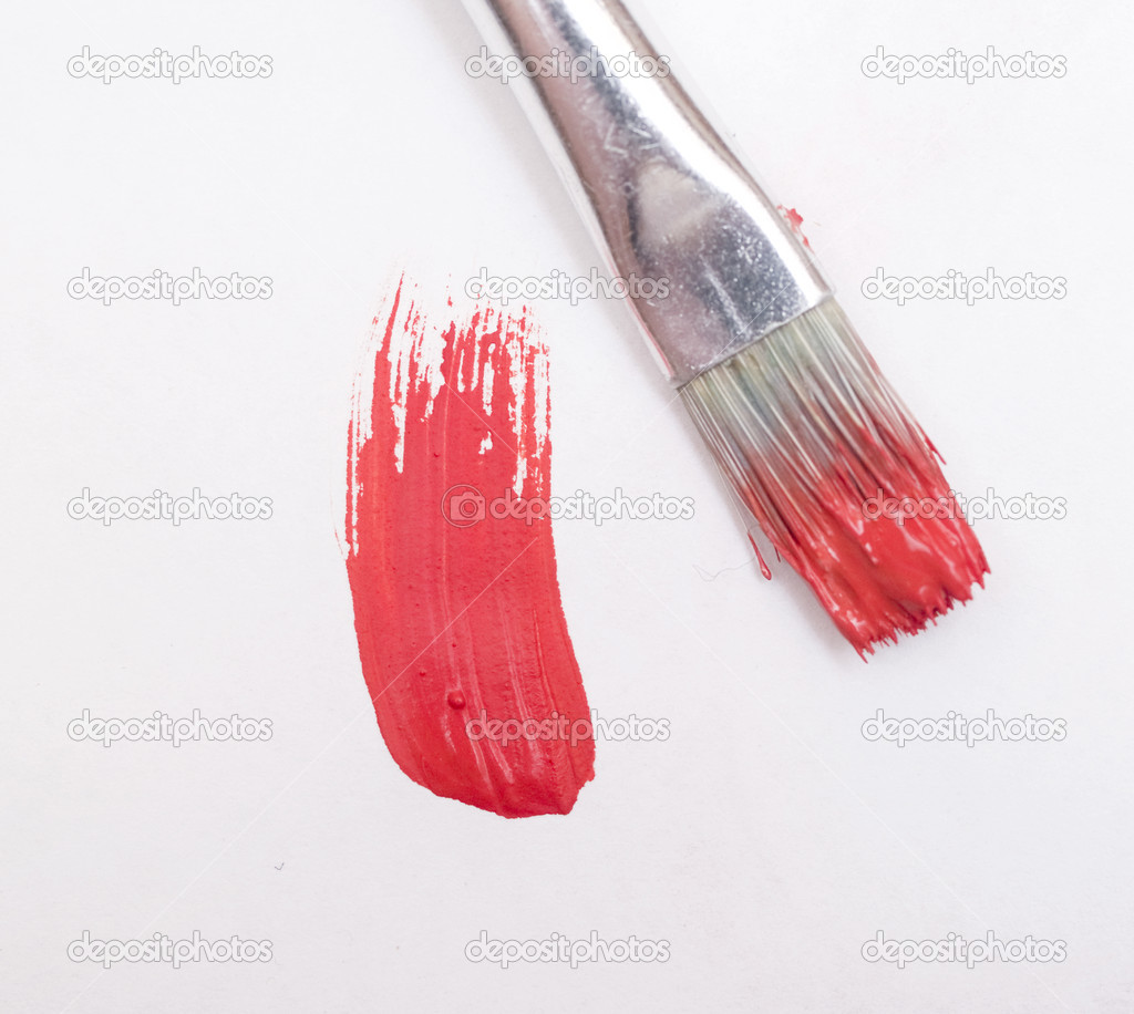 Painting a red color on white canvas — Stock Photo #1876351