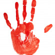 Stamp of red colored hand — Stock Photo