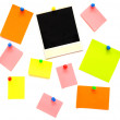 Colorful empty notes and photo frame — Stock Photo