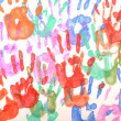 Colorful stamps of  hands — Stock Photo