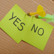 Sticky notes with yes and no marks — Stock Photo