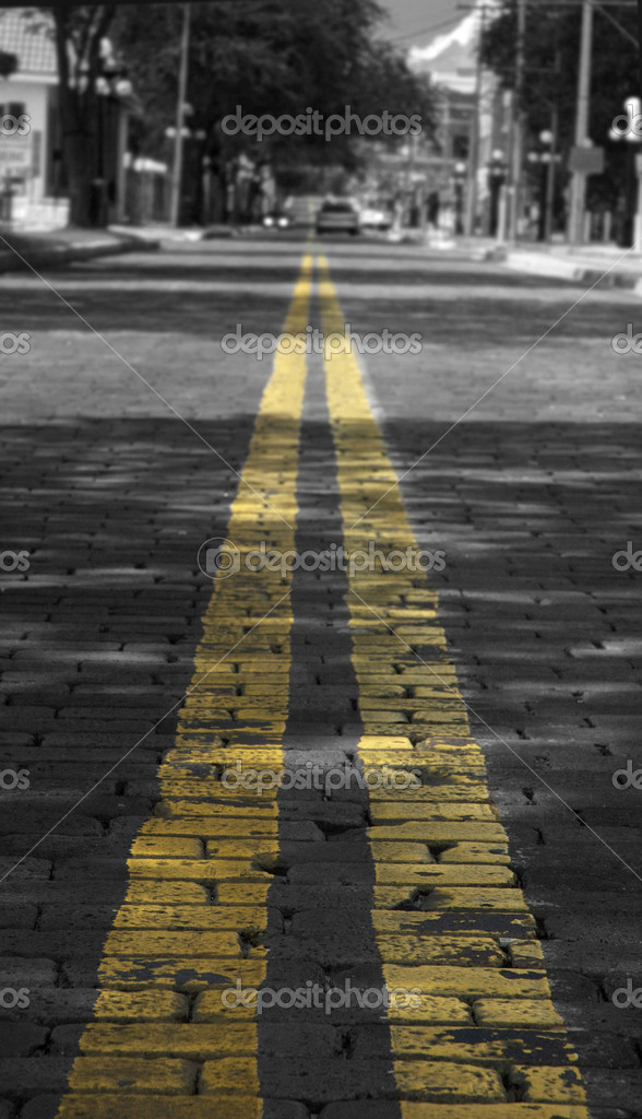 Photograph of yellow double lines going down a brick road in Ybor City, Tampa, FL — Stock Photo #1828724