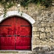 Medieval Red Door — Stockfoto