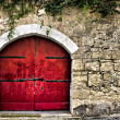 Medieval Red Door - Stock Photo