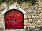 Medieval Red Door — Stock Photo