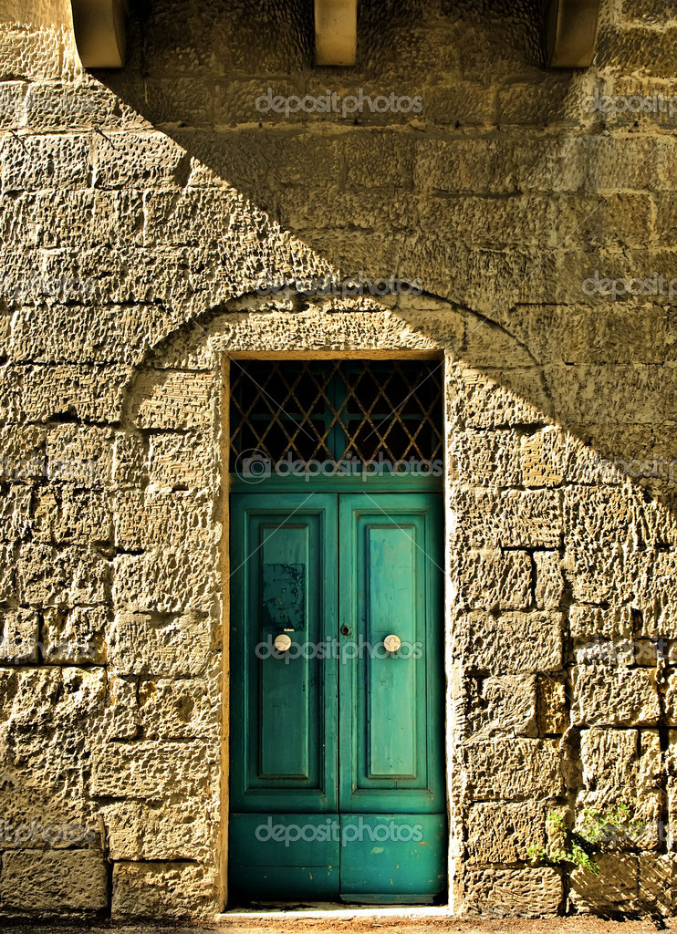 Typical features on a facade of a house in Malta   Stock Photo #1952932