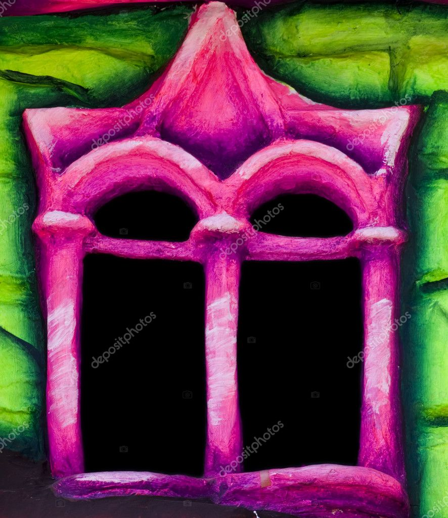 A little and colourful window reminescent of fairytales — Stock Photo #2255829