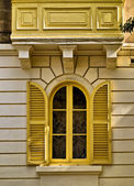 Yellow Louvered WIndow — Stock Photo