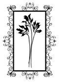 Black frame with flowers — Stock Vector
