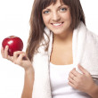 Woman with red apple — Stock Photo