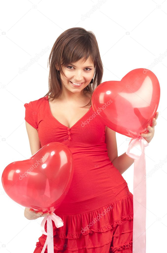 Woman with red heart balloon on a white background — Stock Photo #2255923