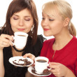Stock Photo: Two girls drinking coffee