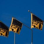 Alaska flag 50 years statehood — Stock Photo