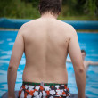 Man in the swimmong pool — Stock Photo