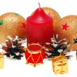 Christmas brilliant spheres and candle — Stock Photo