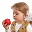 The little girl with a red apple — Stock Photo #1843846