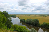 Meadow and the river Desna. Russia. — Stock Photo