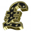 Gold-black Pound sign with stars — Stock Photo