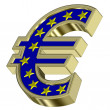 Gold Euro sign with yellow stars — Stock Photo