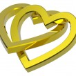 Two joined gold hearts — Stock Photo