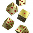 Five gold dices isolated on white — Stock Photo #1869014