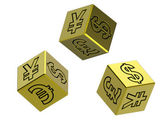 Three gold dices with money signs — Stock Photo