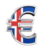 Silver Euro sign with Iceland flag — Stock Photo