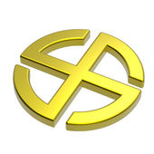 Gold sun cross symbol — Stock Photo