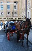 Häst taxi (Rom - Italien) — Stockfoto