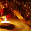 Candles, balls and gold ribbons — Stock Photo