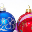 Red and blue xmas balls — Stock Photo