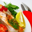 Stock Photo: Fish dish - grilled fish with vegetables