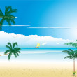 Beautiful tropical beach with boat — Stock Vector