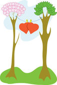 Valentine's trees — Stock Vector