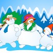 Snow family - Stock Vector
