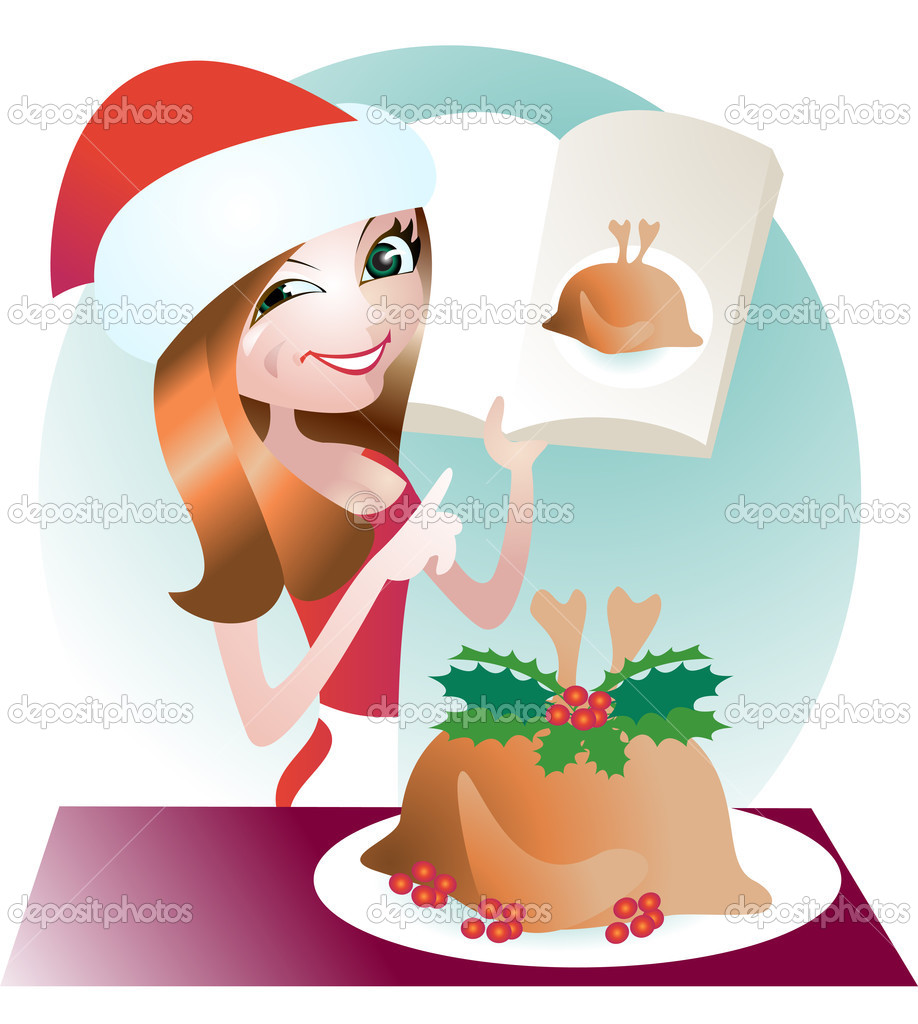 Young woman cooked a Christmas turkey — Stock Vector #1980729
