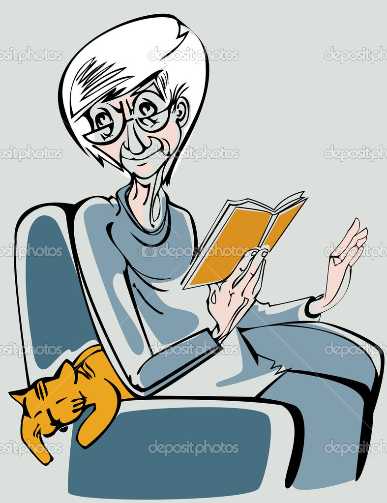 An elderly woman sitting in an armchair and reading a book  Stock Vector #2023432