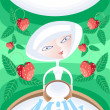 Fresh milk with strawberries — Stock Vector #2032036