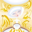 Stock Vector: Fresh milk with banana