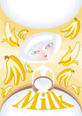 Fresh milk with a banana — Stock Vector