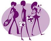 Pedestrians violet — Stock Vector