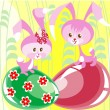 Royalty-Free Stock Imagem Vetorial: Two bunnies