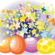 Easter eggs on the background star — Stock Vector