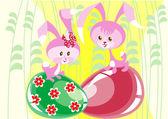 Two bunnies — Stock Vector