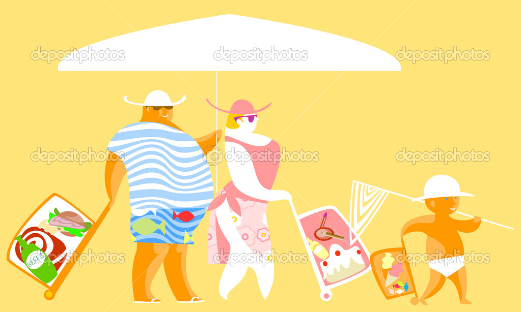 Ironic image of a very full  , who going to the beach — Stock Vector #2190012