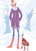 女孩和狗 — 图库矢量图片