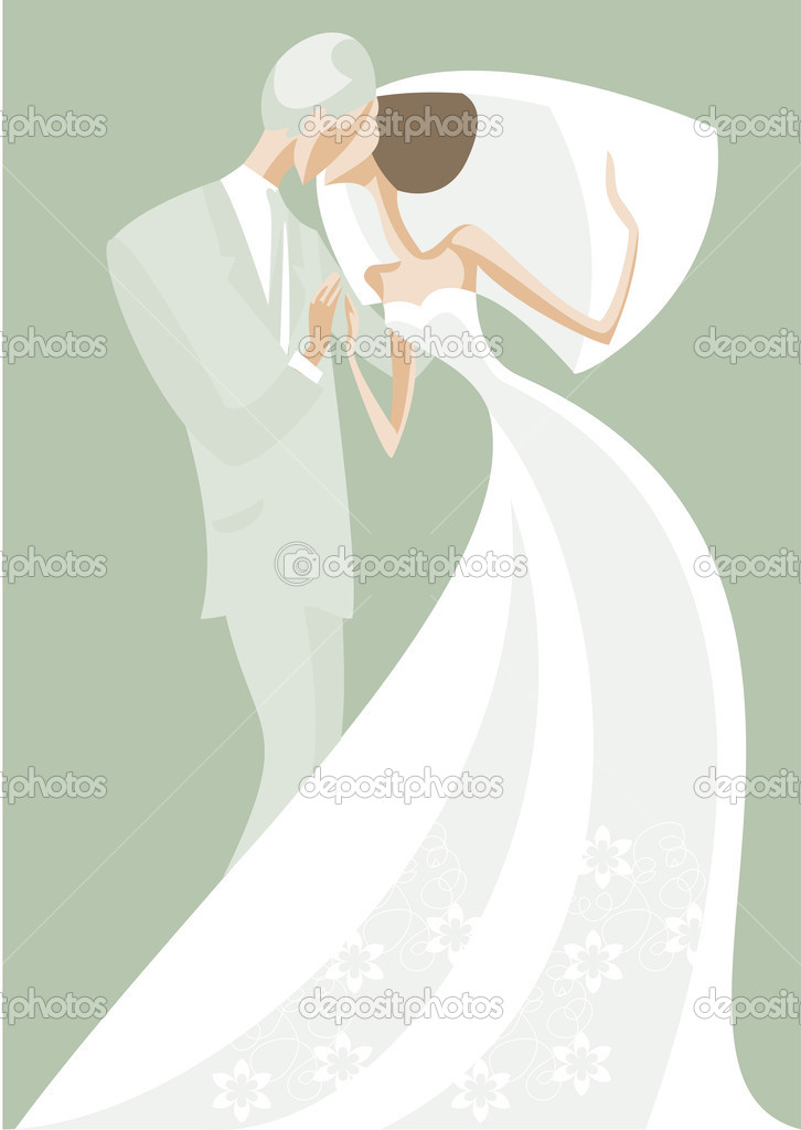 Newlyweds kiss after the wedding  Stock Vector #2391805