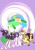 Milk_black_currant — Stock Vector